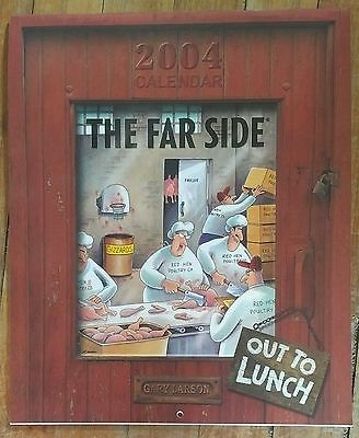 2004 Calendar/The Far Side, Out to Lunch/Gary Larson/Free Shipping USA & Canada