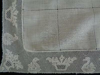 12 ANTQ Point de Paris Lace PLACEMATS & RUNNER - White Drawn Thread Swiss Fabric