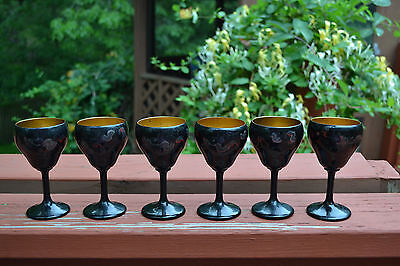 Set of 6 Republic Foochow Lacquerware Dragon Pattern Wine Glasses