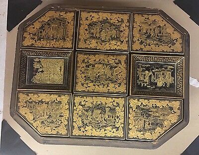 Antique Asian LACQUER GAME BOX & With 7 Boxes W/Many Bone And Pearl Game Tokens