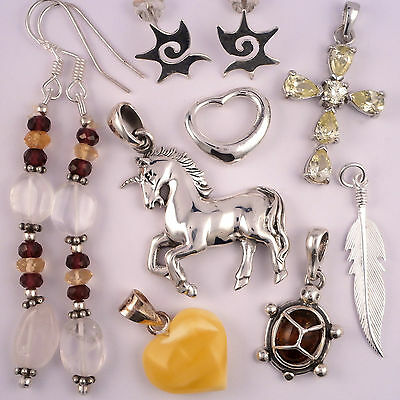 New Lot Sterling Silver Baltic Amber & Gemstone Jewellery from old business 18g