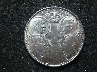 1963 Greece 30 Drachma 5 King Centennial BU  Silver