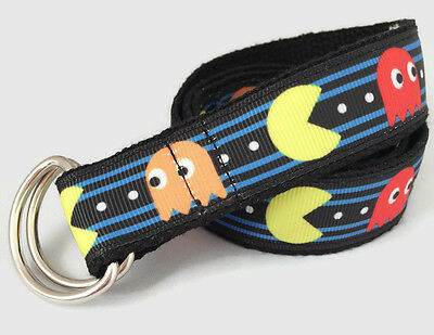 Belt for toddlers Pac Man hook and loop, D-ring printed belt handmade NEW DESIGN
