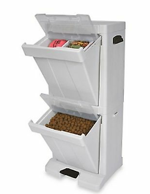 Pet Storage Tower Dog Cat Toys Food Treats Bins Drawers 34 In. Organization New