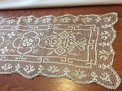 Antique Hand Crocheted Bureau / Buffet Runner Scarf