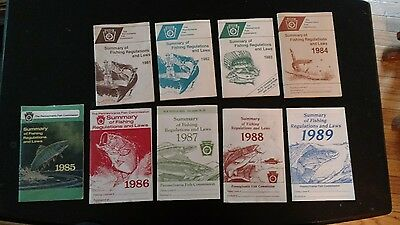 9 Vintage PA Summary of Fishing Laws Regulations License Booklets 1981 - 1989 GC