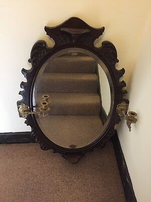 Victorian Wall Mirror With Brass Candle Holders