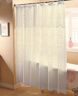 Elegant Ivory Lace Shower Curtain With Liner Bath Bathroom Home Decor