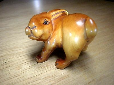 Hand Carved wood netsuke rabbit with tail up, vintage / antique style figure