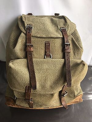 Rare 1954 year Vintage Swiss Army Backpack Leather Canvas Military Rucksake Bag