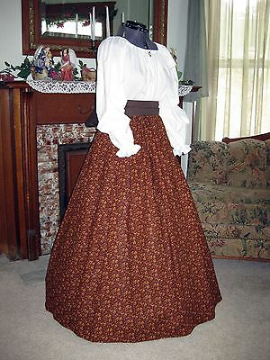 Civil War Victorian Dress Gown Frontier Pioneer Western; Choose Size Xs-2Xl
