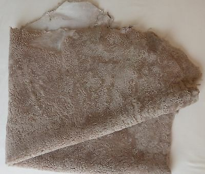 Leather Hide (Wool Skin). Large - Colour Taupe.  Skin Approx. 10 sq.ft.