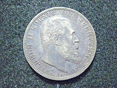 1912 F German State Wurttemberg 3 Mark Silver Higher Grade Toned Coin