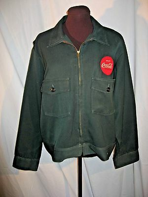 60's Coca-Cola Vintage Green Coke patch Delivery Driver Jacket-Sz 44 regular