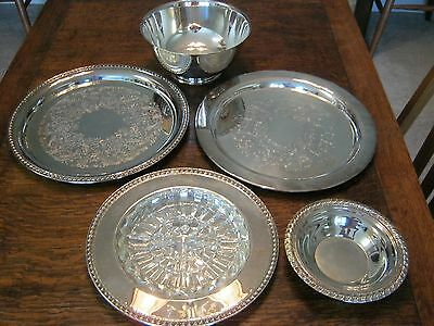 Silverplate Serving Pieces, Trays and Bowls Cache