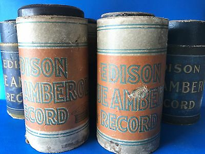 Lot - 6 Edison Blue Amberol Records in Original Cardboard Cylinder Sleeve