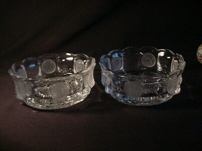 "2 Fostoria Crystal Clear Frosted Coin Glass 4 1/4"" Berry Fruit Bowls - Vintage"