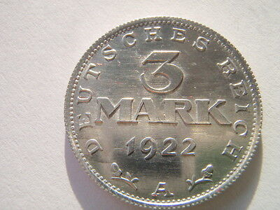 "3 Mark Münze D.R. 1922 A  ""Verfassungstag 11. August 1922"" (AL)"