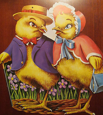 Antique Easter Diecut  Mr. & Mrs. Chick
