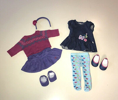 American Girl Bitty Baby Twins Clothes Meet Butterfly & Fair Isle Outfit + Shoes