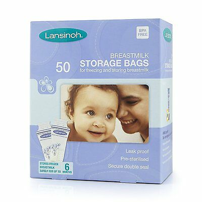 50 Pieces Lansinoh Breastmilk Storage Bags Sterilized Freeze Baby Food LeakProof