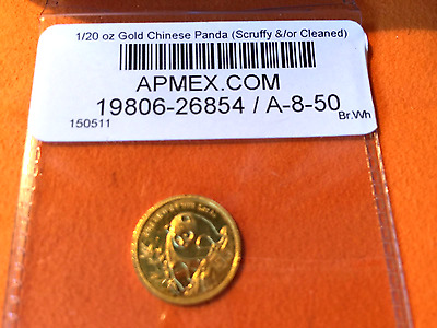 1990 Gold Panda - 1/20 oz Scruffy and/or Cleaned Condition