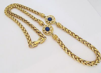 """Vintage Givenchy Thick Braided 30"""" Chain Lapis Glass Crystal Dbl G Closure!"""