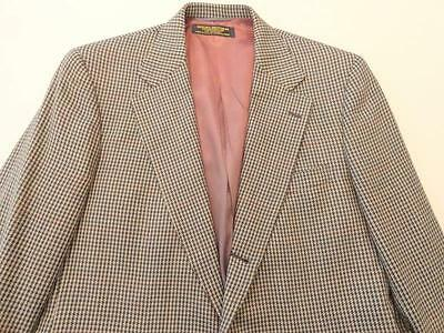 Men's Brooks Brothers Tan Houndstooth Plaid 3 Button Lambswool Jacket 40 L