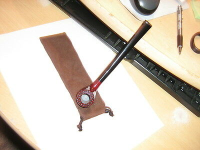 Nice New Long Stem Rosewood Tobacco Pipe And Pouch