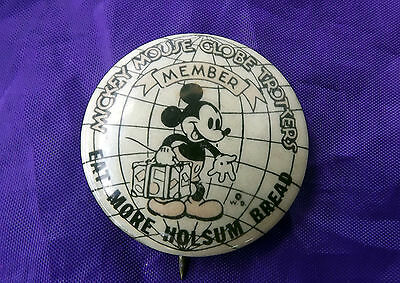 """""""Mickey Mouse Globe Trotters"""" Advertising Pinback"""