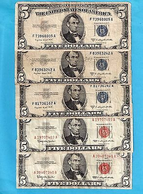 **  $75.00 In Face Value Small Size Fed Res, Silver Cert, Red Seal  ***