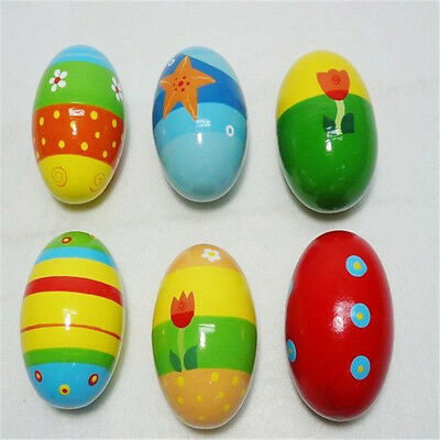 6Pcs Maraca Musical Wooden Egg Shaker Percussion Rattle Toy for Kids Child Gift;