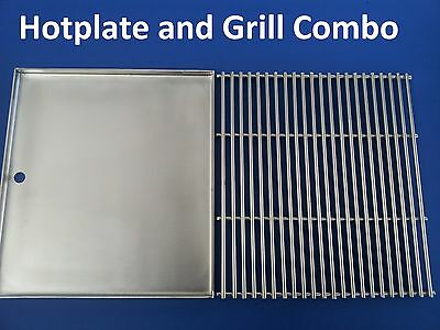 STAINLESS STEEL BBQ HOTPLATE and GRILL 40.5  X 37.5 cm  PREMIUM 304 GRADE NEW