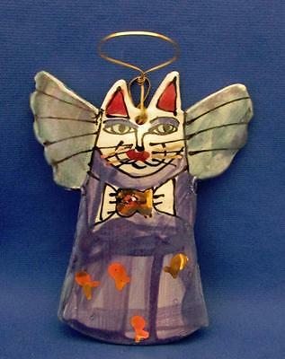 Cat Angel Blue Hand Crafted Pottery Ornament