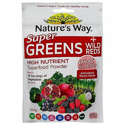 4 x Nature's Way Super Greens Plus Wild Reds Powder 100G