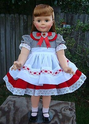 "Dress, Apron, Slip Puffy & Ribbon for Patti Playpal or 35"" - 36"" doll"
