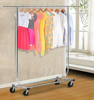 Chrome Heavy Duty Clothing Garment Rolling Collapsible Rack Hanger, Chrome