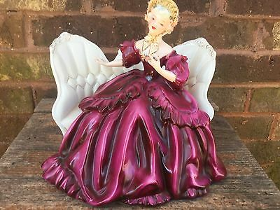 Florence Ceramic Elizabeth~On Sofa With Red Layered Dress Signed Gorgeous