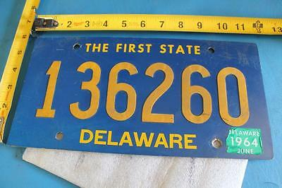 Vintage 1964 Delaware License Plate 136260 The First State Riveted Plate 1 Year