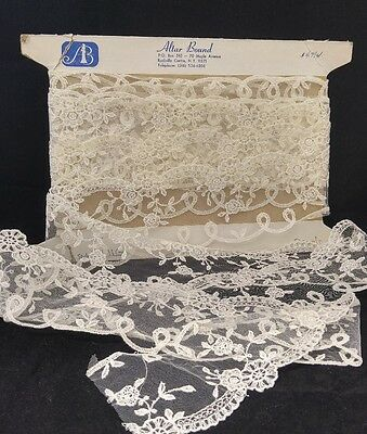 Vintage Old Store Stock Lace BOLT Trim Wedding~ Doll~ Crafts White Tambour LOT