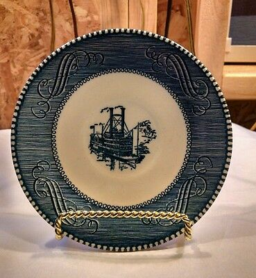 "Vintage Currier and Ives Blue and White Steamboat 6"" Plates"