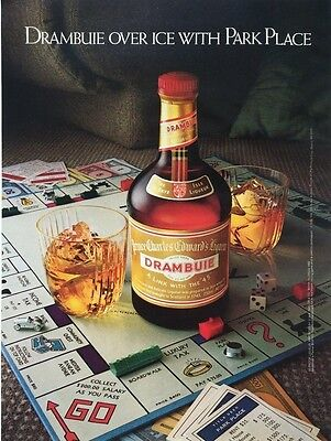 1983 DRAMBUIE OVER ICE  with Park Place Monopoly Game Vintage PRINT AD
