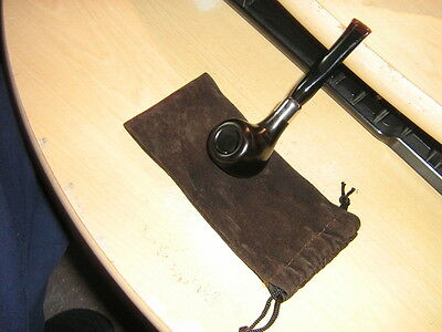 Nice New Silver Ring Dark  Ebony  9 Mm Filter Tobacco Pipe And Pouch