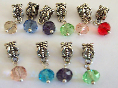 10 X Crystal Dangles Charms Mixed Colours Jewellery Craft Bulk Buy