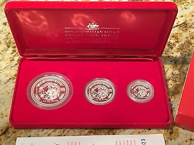 2000 Australia Silver Year Of The Dragon 3 Coin Lunar Proof Set - $2 - $1 - $.50