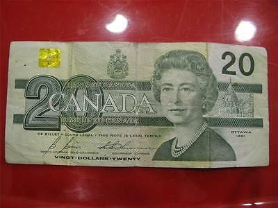 Canada Canadian 20 Dollar Bill Note Circulated, Folded Stapled.