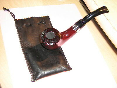 Nice New Natural Wood Very Sturdy Tobacco Pipe And Pouch