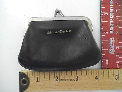 Genuine Leather Kiss Lock Coin Purse Change Pouch Wallet Vintage