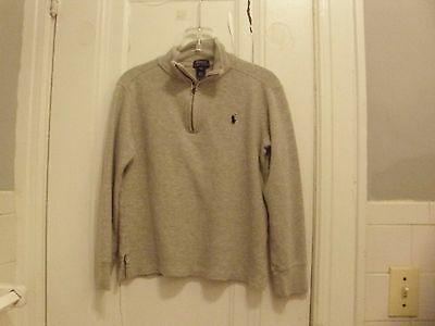 Boys Polo Ralph Lauren 1/2 Zip Pullover Sweater, Gray Size SMALL 8 Youth
