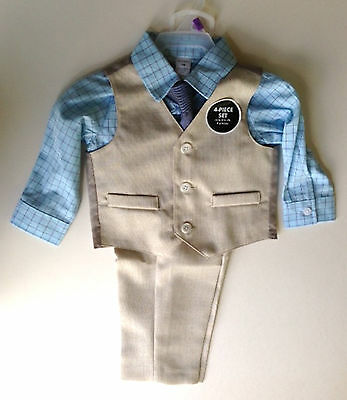 George Toddler Boy Church Dress Portraits 4pc Set 12M Vest Shirt Pants Tie NWT
